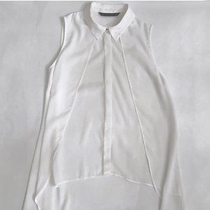 Zara White Sleeveless High Low Blouse
